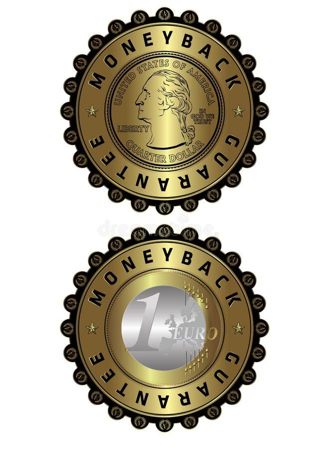 US dollar & Euro coins money back golden labels vector illustration