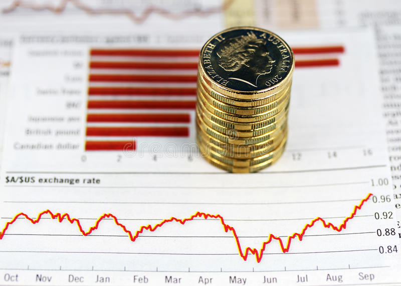 US Dollar in freefall. Some gold coins stacked on a newspaper graph where the trend is up, indicating that the Australian dollar is on the verge eclipsing the US royalty free stock image