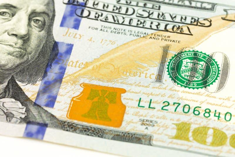 100 us-dollar het detail van bankbiljetobvers royalty-vrije stock fotografie
