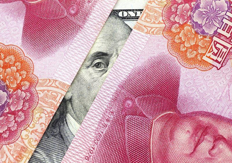 US dollar kontra Kina Yuan arkivbild