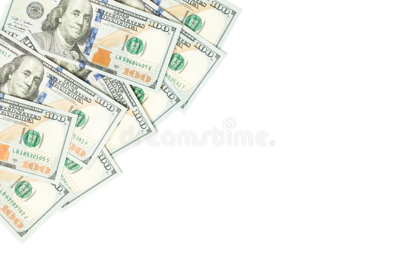US dollar money cash currency background. American Dollars 100 banknote border  on white.  stock image
