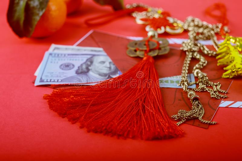 US dollar money in red background,Happy Chinese new year concept royalty free stock photos