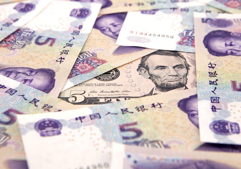 US dollar mot porslinyuan royaltyfri foto