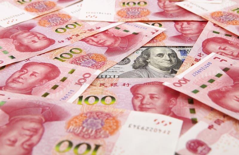 US dollar mot porslinyuan royaltyfria bilder