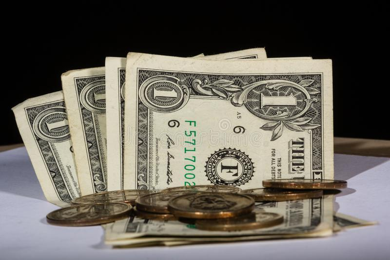 US dollar note and coins royalty free stock image