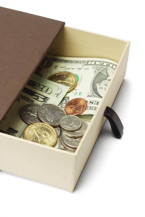US dollar notes and coins in gift box stock photo