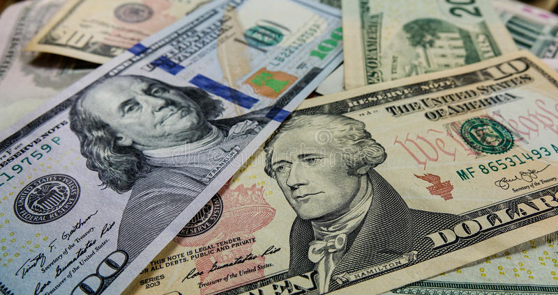US Dollar notes stock images