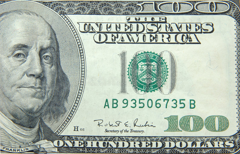 US dollar one hundred bill royalty free stock image