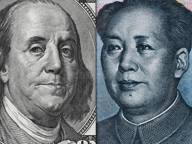 US-Dollar Rechnung und China-Yuanbanknotenmakro-, Chinese und USA-EC stockbild