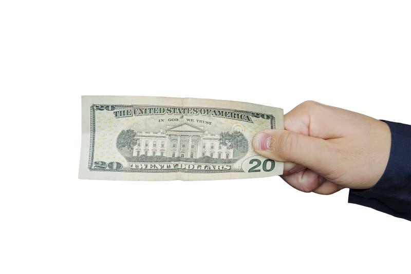 20 US dollar sedlar i hand isolerad vit bakgrund royaltyfria bilder