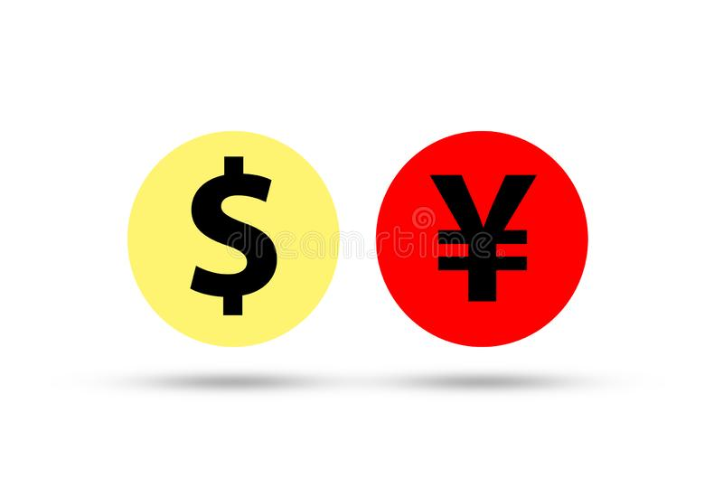 US dollar sign and China Yuan sign .IIt is symbol of economic tariffs trade war and tax barrier between United States of America royalty free illustration