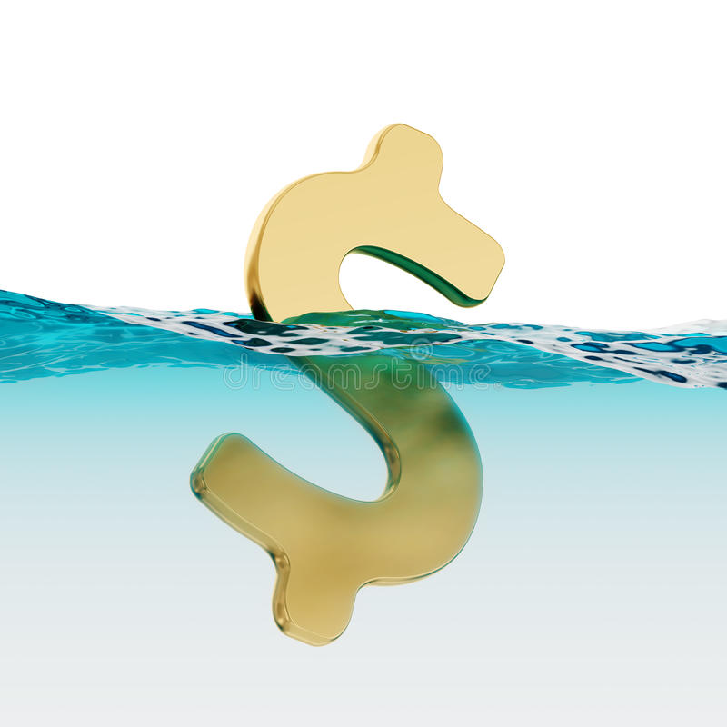 Free US Dollar Sign Split Level Open Water 3d Illustration Stock Photo - 74335740