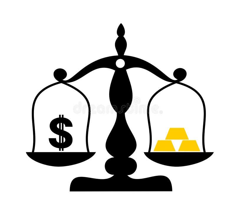 US dollar som fiat valuta vs guld- guldtacka som göras av guld vektor illustrationer