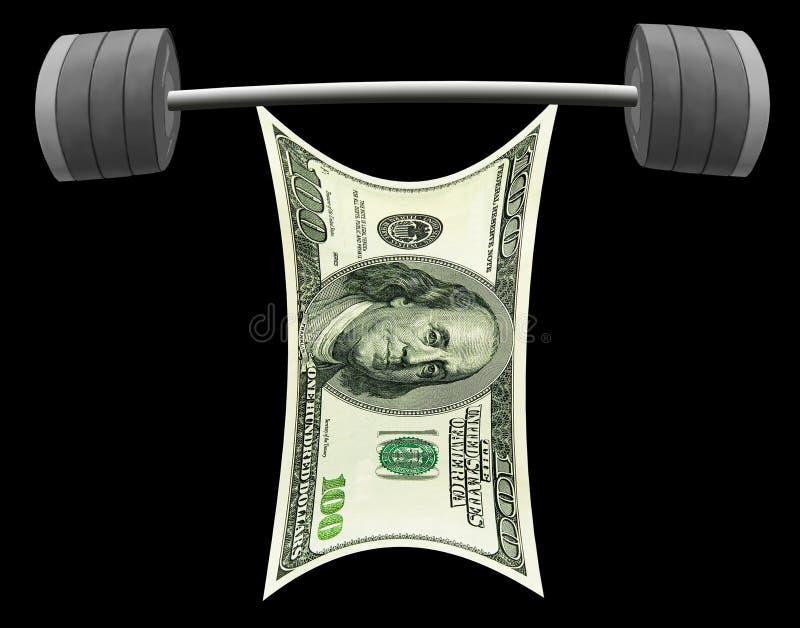 US dollar som lyfter den tunga skivstången av framgång isolerat royaltyfri fotografi