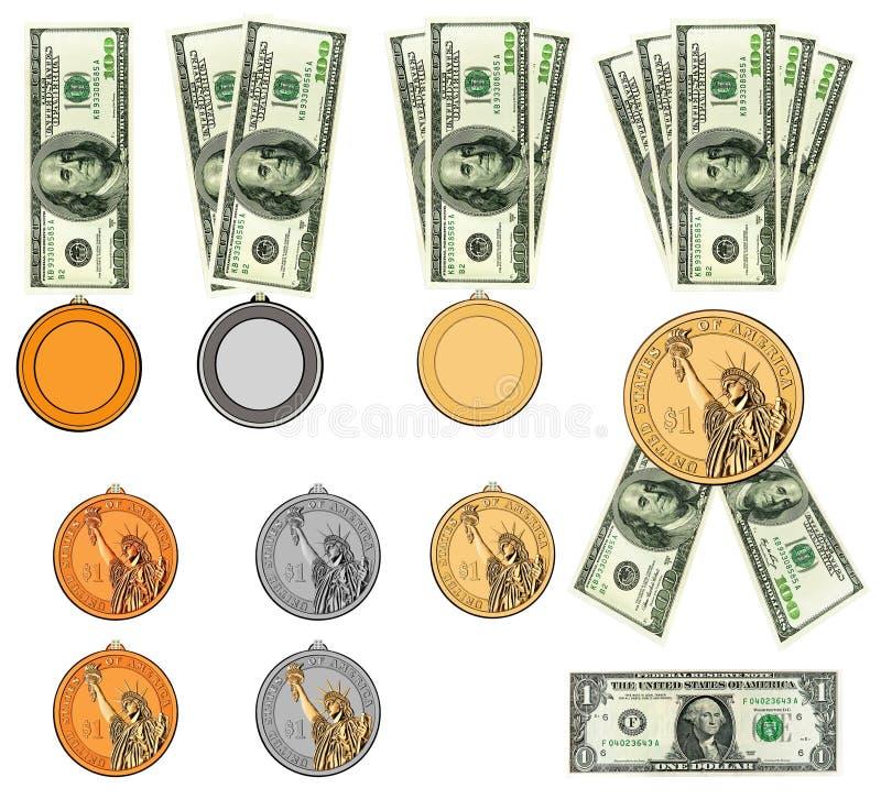 Us-dollar som medaljer, bandutmärkelsear. Isolerat royaltyfri illustrationer