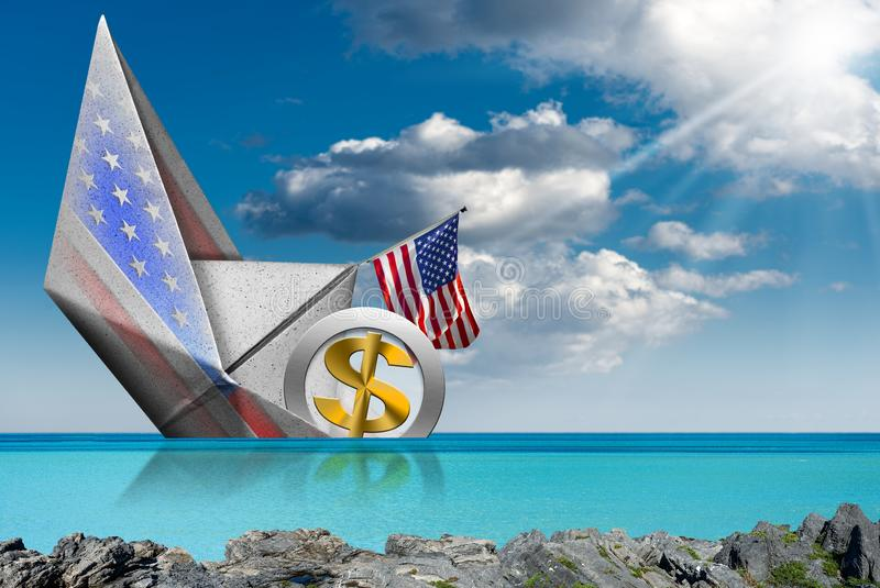 US Dollar symbol sinking aboard of a paper boat - Recession concept royalty free stock images
