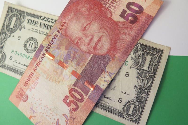 US-Dollar und des südafrikanischen Rands Banknoten lizenzfreie stockbilder