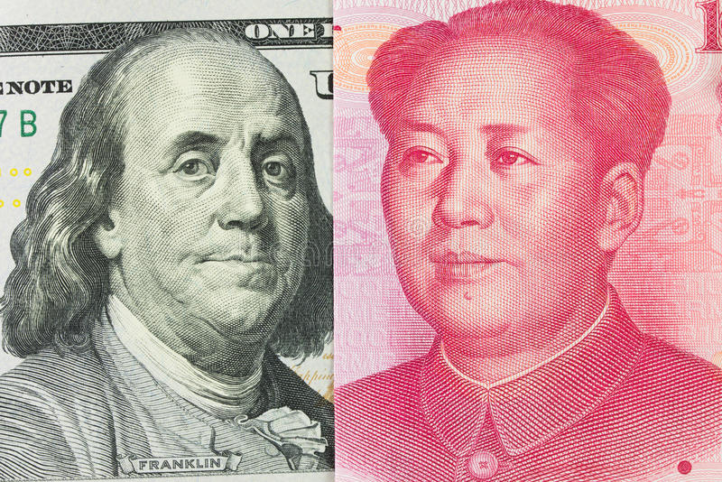 US dollar versus China Yuan stock photography