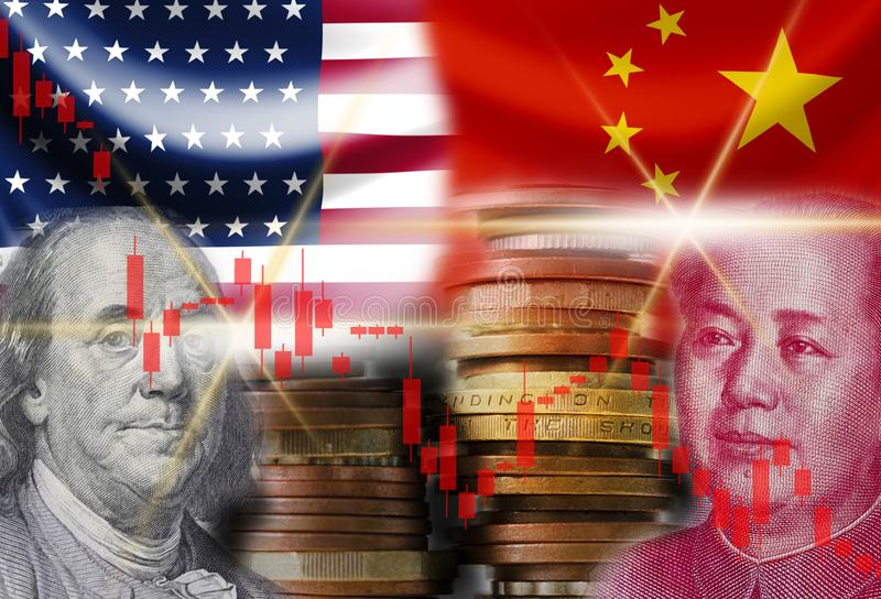 US dollar and Yuan banknote with USA and China flags. Its is symbol for economic tariffs trade war crisis between biggest economic. Country in the world stock image