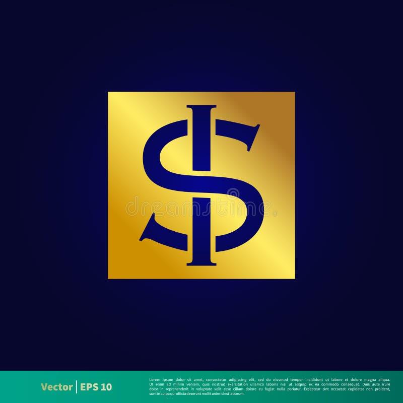 US-Dollar Zeichen-Ikonen-Vektor Logo Template Illustration Design Vektor ENV 10 lizenzfreie abbildung