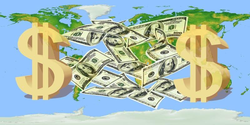 US dollaranmärkningar med ett dollartecken mot världskartan stock illustrationer
