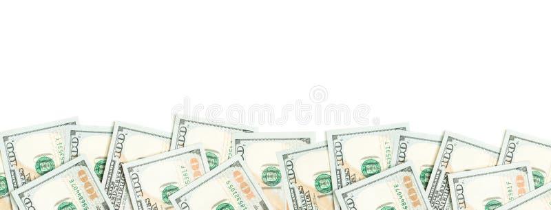 US dollargräns som isoleras på vit bakgrund pengarkassa för 100 räkningar arkivfoto