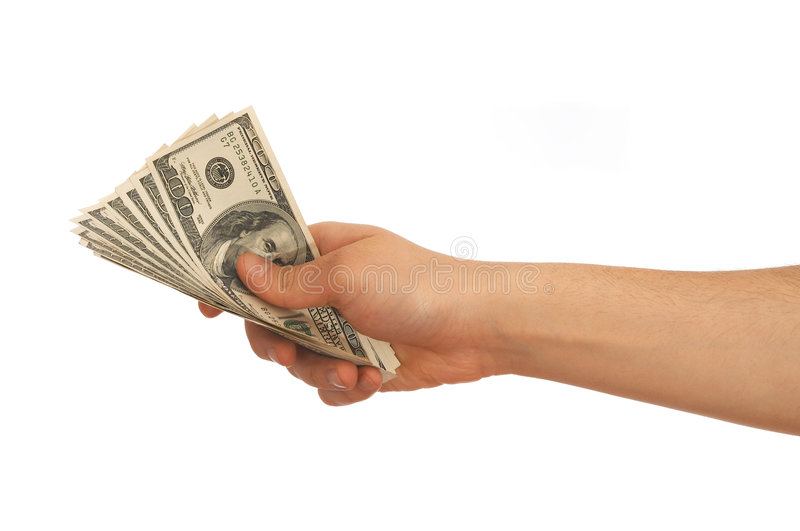 Us dollars. Hand holding Us dollars on white background royalty free stock photos