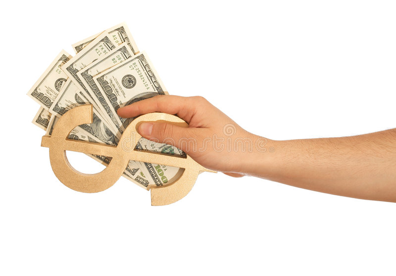 Us dollars. Hand holding Us dollars and dollar sign on white stock photo