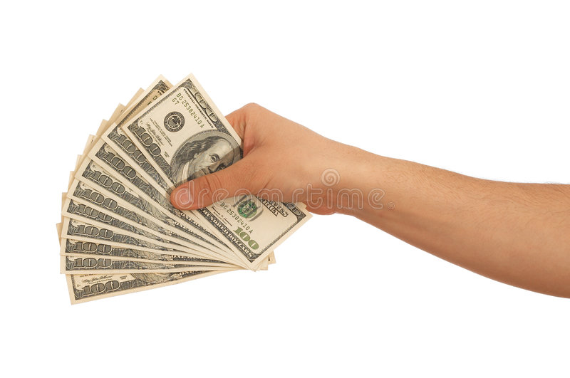 Us dollars. Hand holding Us dollars on white background royalty free stock photo