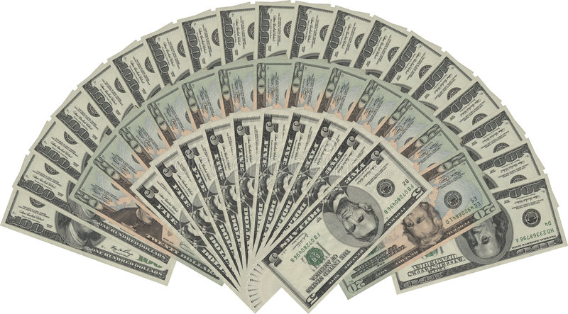 US dollars. The US dollars with white background royalty free stock photography