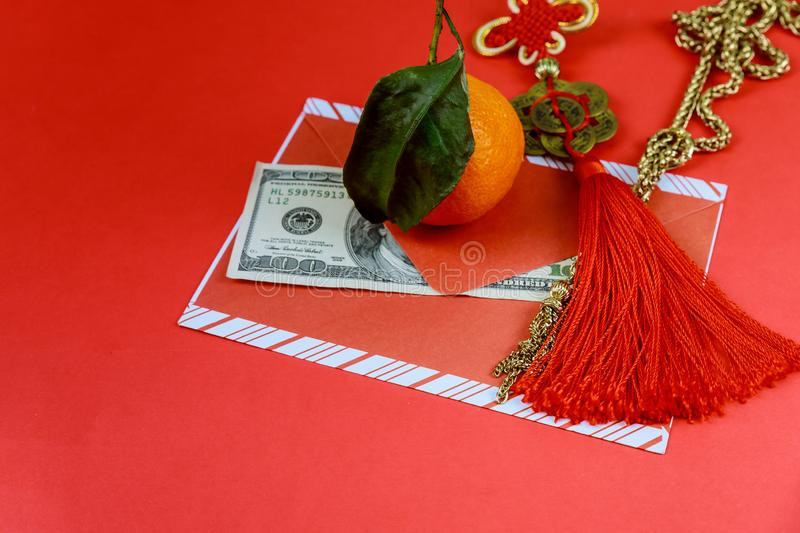 US dollars banknotes with red envelope in Chinese New Year stock images