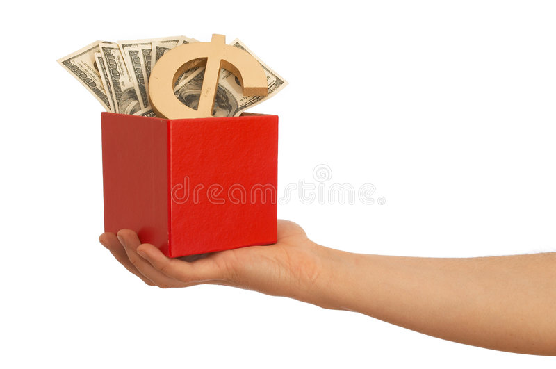 Us dollars in box. Hand holding Us dollars and dollar sign in a red box royalty free stock photo