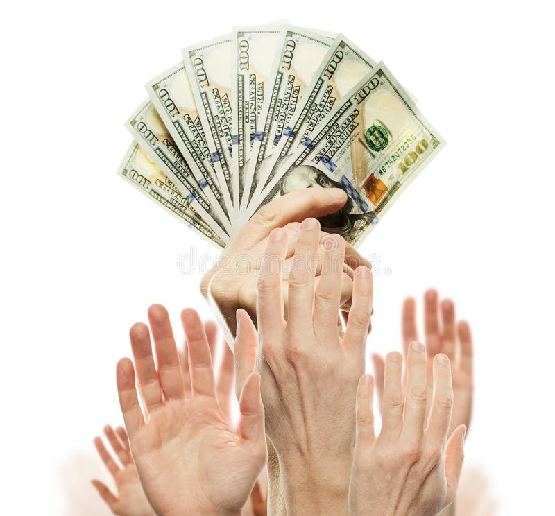 US dollars cash money and many people hands. Commercial money investment profit and business competition concept.  stock images