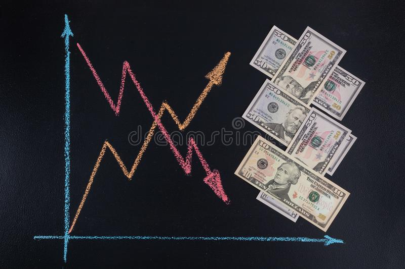 US dollars currency rates trends concept. US dollars currency rates trends concept - line graph with arrows pointing up and down drawn with chalk on blackboard stock photo