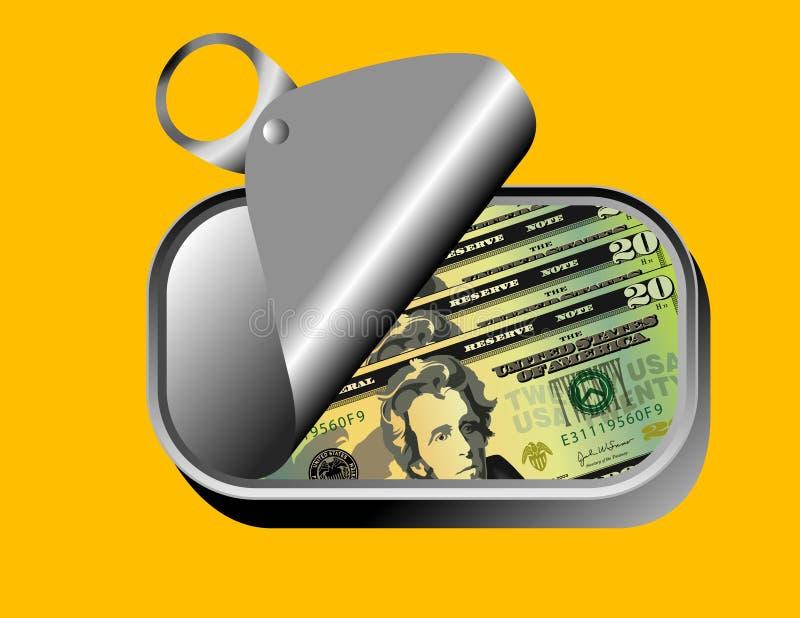 US-Dollars in der Sardine können lizenzfreie abbildung