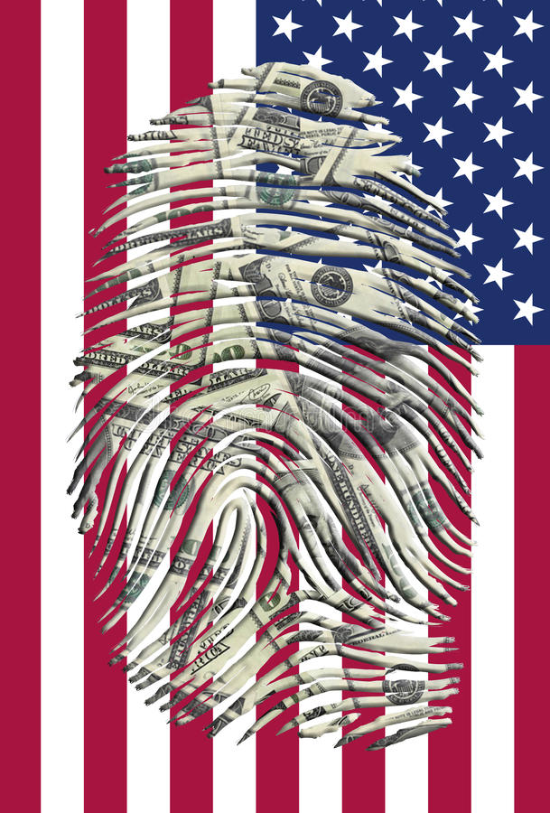 US Dollars Finger And American Flag Stock Images