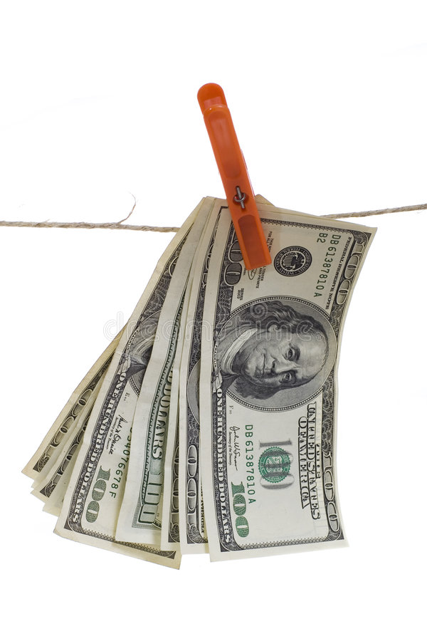 Download Us Dollars Hanging On Rope Stock Images - Image: 6411284