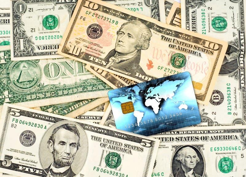 US-Dollars mit Kreditkarte stockfotografie