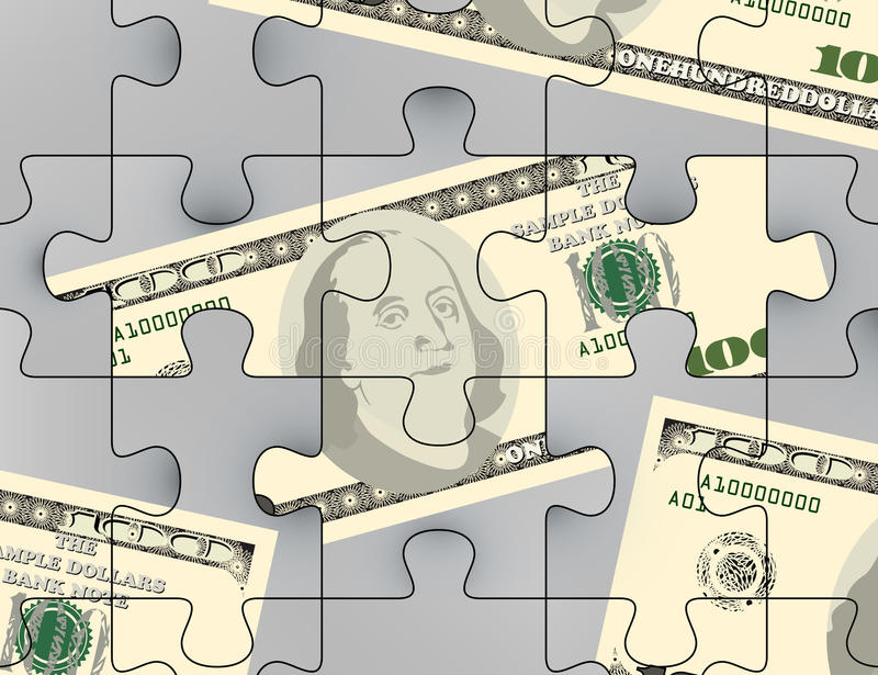 Us dollars puzzle scene vector illustration