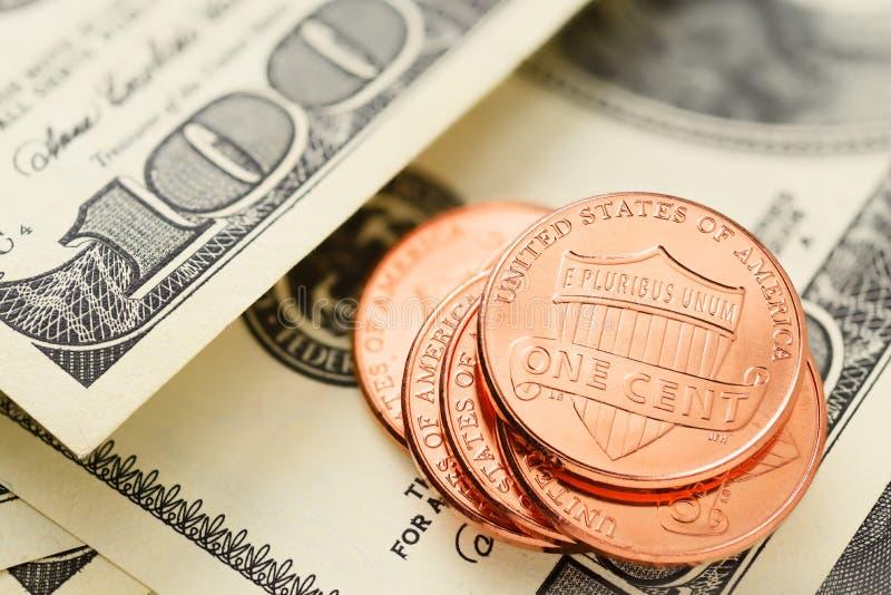 US-Dollars und Cents lizenzfreie stockfotos
