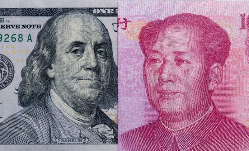US-Dollars und Chinese-Yuan-Rechnung lizenzfreie stockfotografie