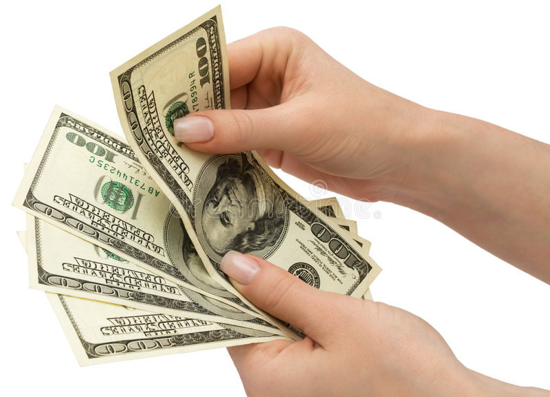 Download US Dollars In Woman's Hand, Isolated With Clipping Stock Image - Image of finger, concepts: 5047127