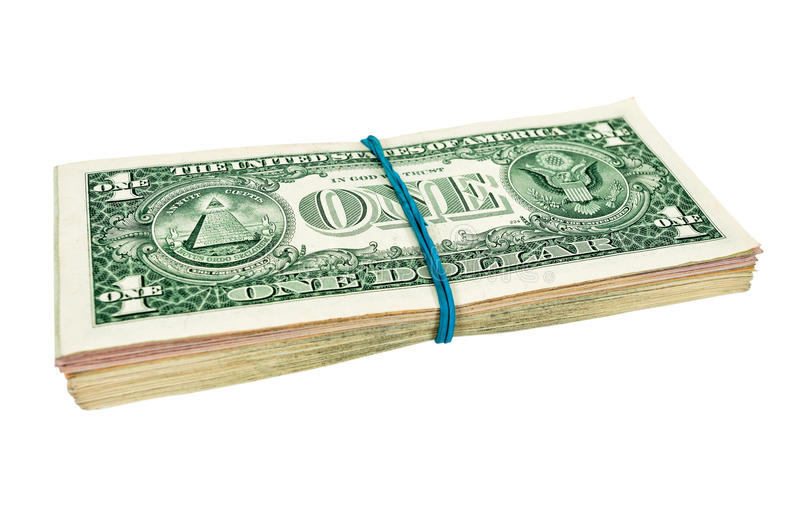 US Dollars Wrapped By Rubber Royalty Free Stock Images