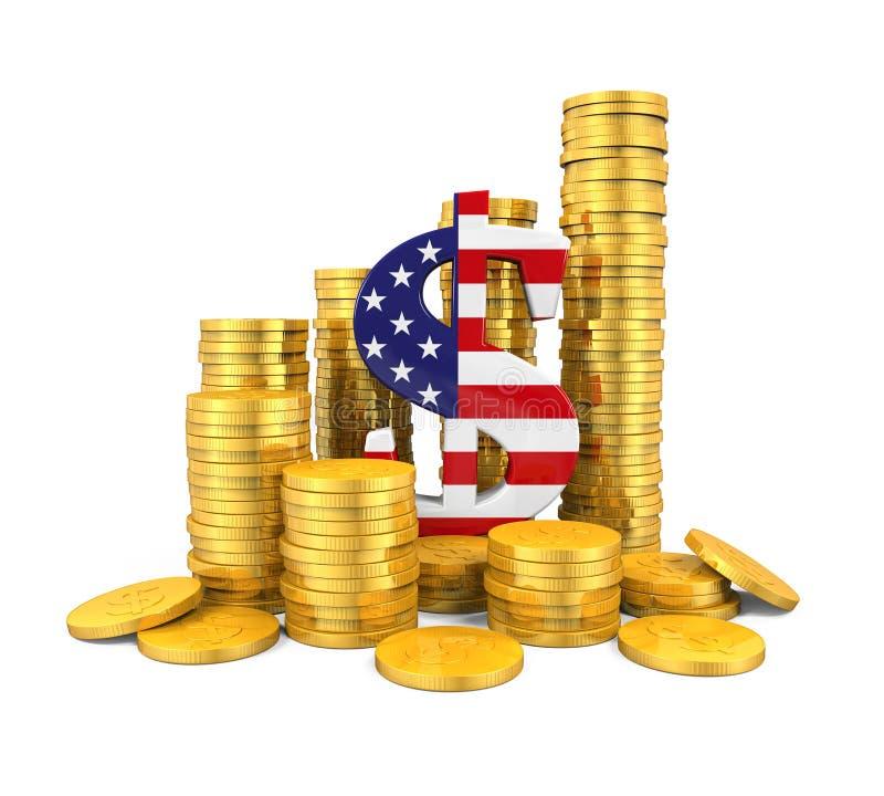 US dollarsymbol och guld- mynt royaltyfri illustrationer