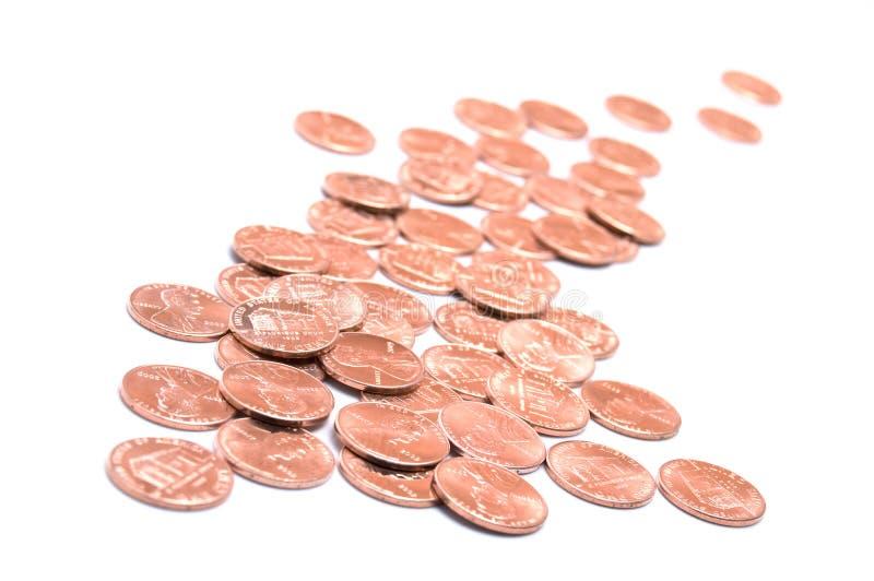 US ein Cent-Münzen oder Pennys stockfotografie