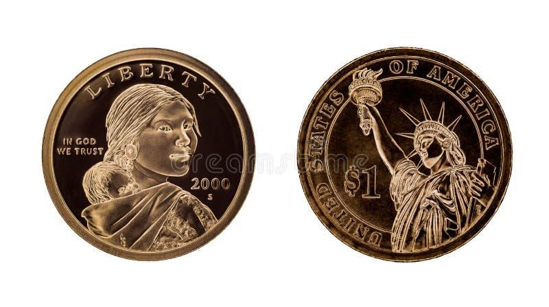 US eine Dollarmünze - Sacagawea und Freiheitsstatue stockfotografie
