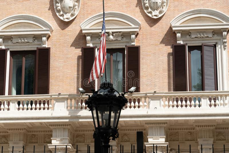 US Embassy in Rome, Italy. Rome, Italy - September 2, 2018: Palazzo Margherita, Chancery Building of the Embassy of the United States of America to Italy royalty free stock photos
