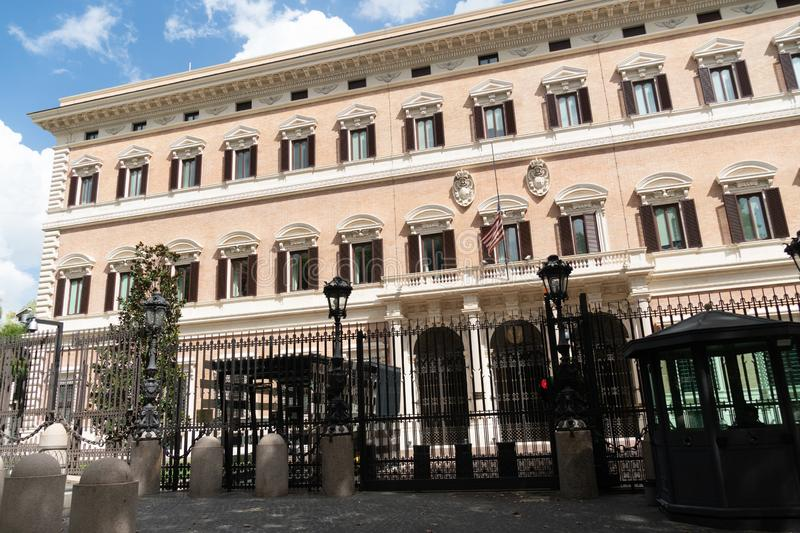US Embassy in Rome, Italy. Rome, Italy - September 2, 2018: Palazzo Margherita, Chancery Building of the Embassy of the United States of America to Italy stock images