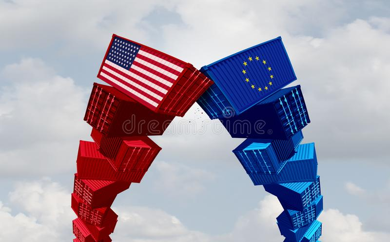US Europe Trade War. US Europe and USA trade war and American tariffs as two opposing cargo freight containers in European Union economic conflict as a dispute stock illustration