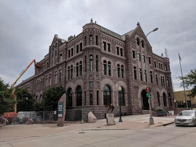 US Federal Building in Sioux Falls, SD. The United States Courthouse and federal offices in downtown Sioux Falls was built using local area quartzite stone and stock photos